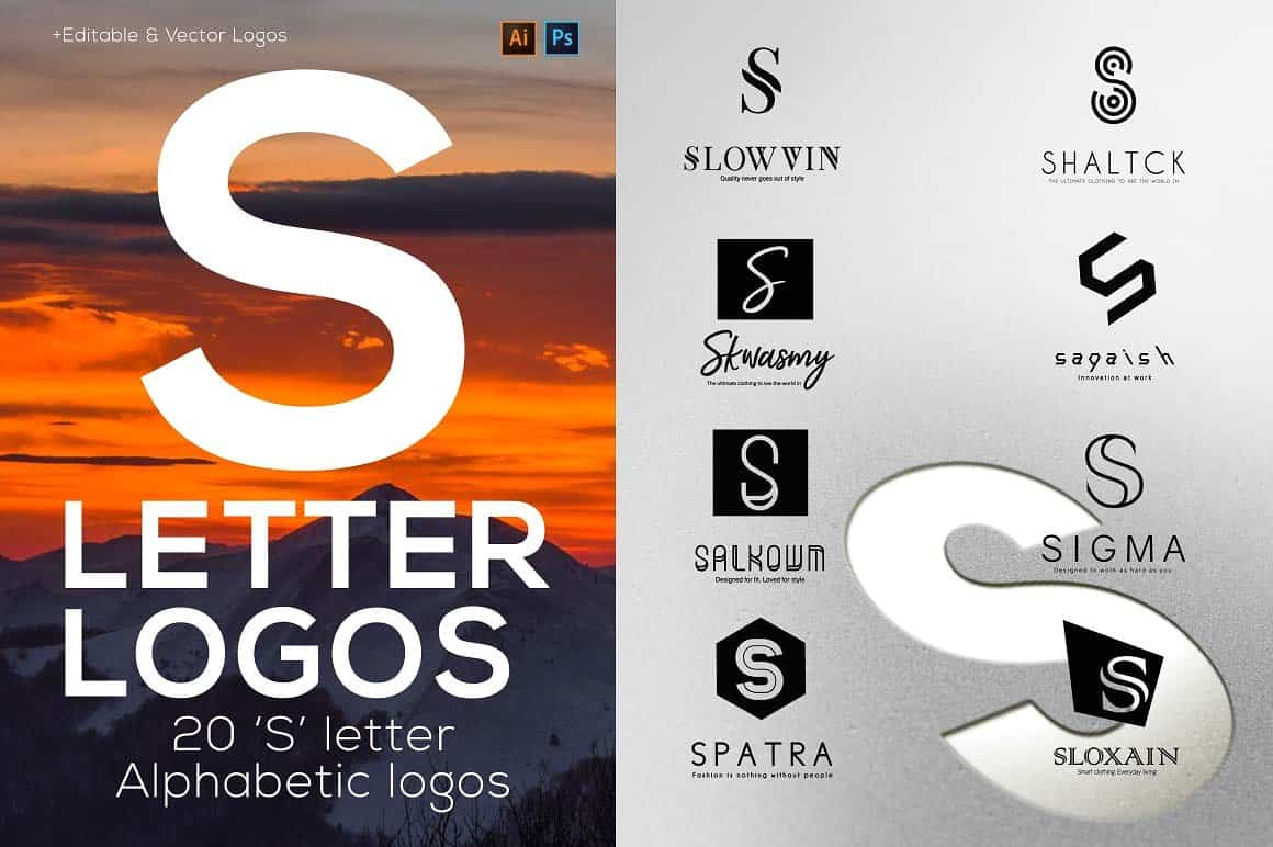 S Letter Alphabetic Logos   Graphicx Pack